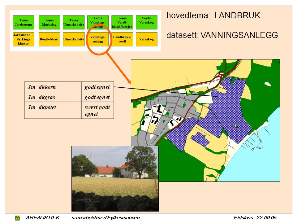Jm_dkkorngodt egnet Jm_dkgrasgodt egnet Jm_dkpotetsvært godt egnet hovedtema: LANDBRUK datasett: VANNINGSANLEGG