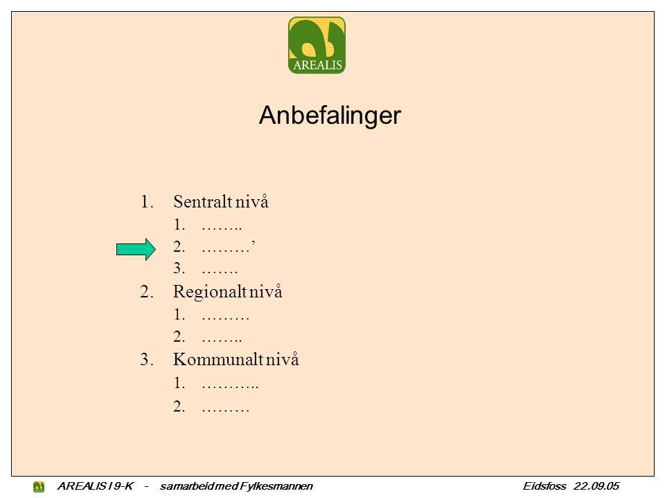 Anbefalinger 1.Sentralt nivå 1.…….. 2.………' 3.……. 2.Regionalt nivå 1.……… 2.……..