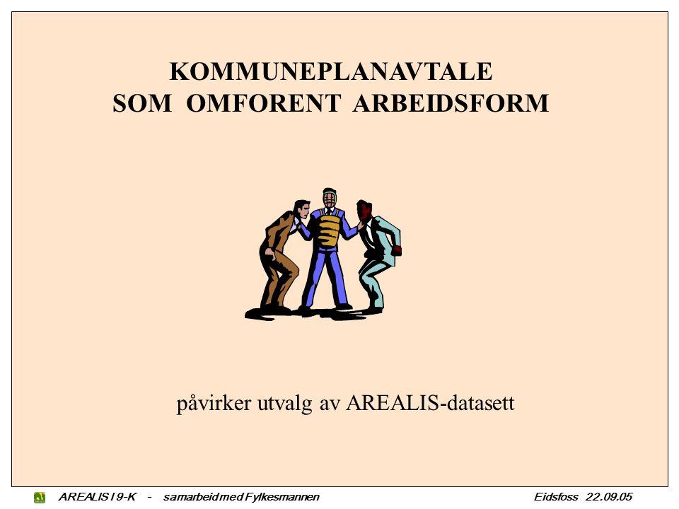 KOMMUNEPLANAVTALE SOM OMFORENT ARBEIDSFORM påvirker utvalg av AREALIS-datasett