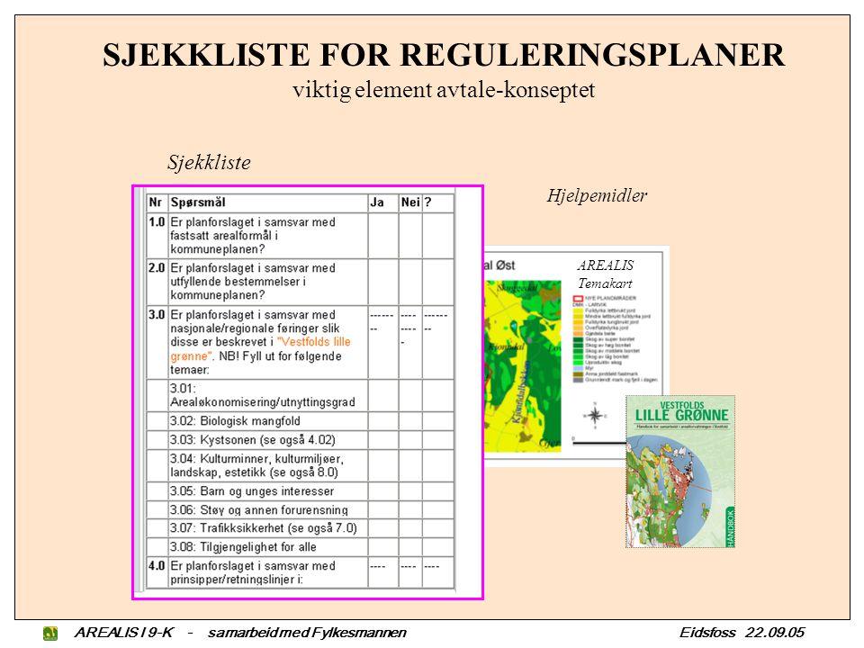AREALIS I 9-K - samarbeid med Fylkesmannen Eidsfoss 22.09.05 KOMMUNE; A