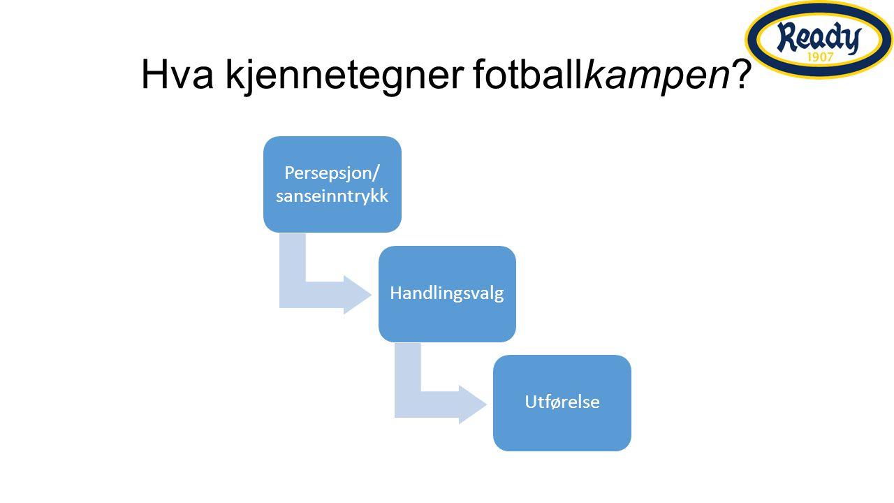 Hva kjennetegner fotballkampen Persepsjon/ sanseinntrykk HandlingsvalgUtførelse