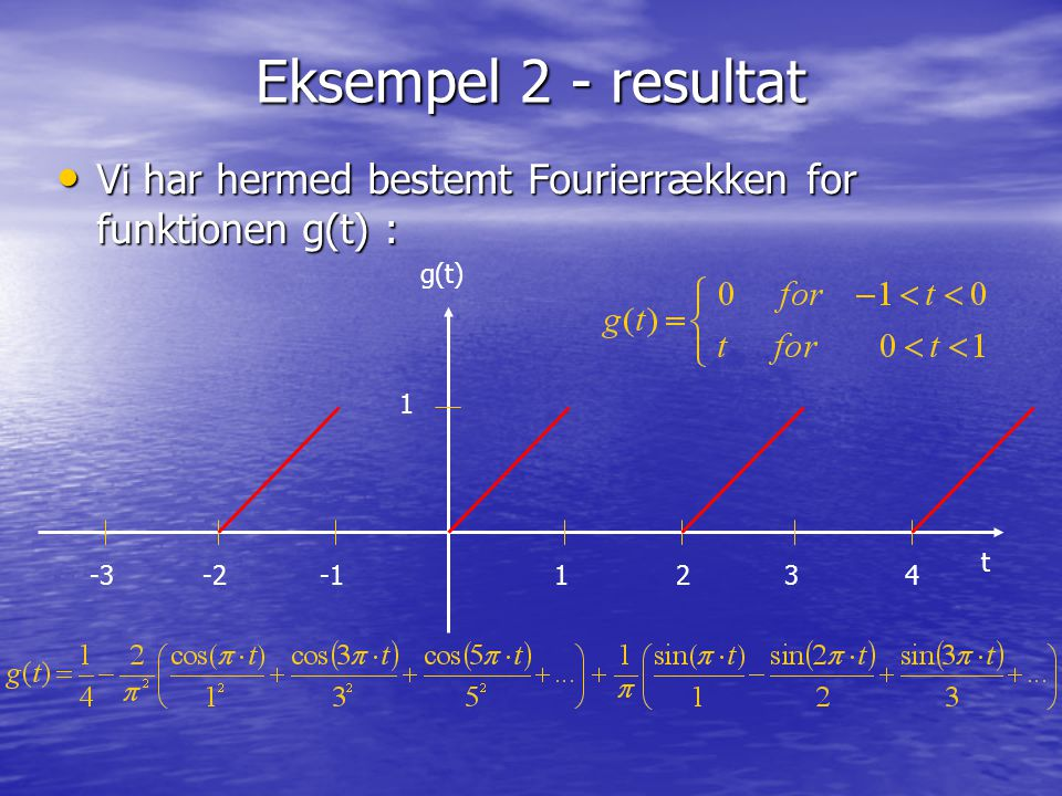 Eksempel 2 - resultat Vi har hermed bestemt Fourierrækken for funktionen g(t) : Vi har hermed bestemt Fourierrækken for funktionen g(t) : 1234 g(t) -3