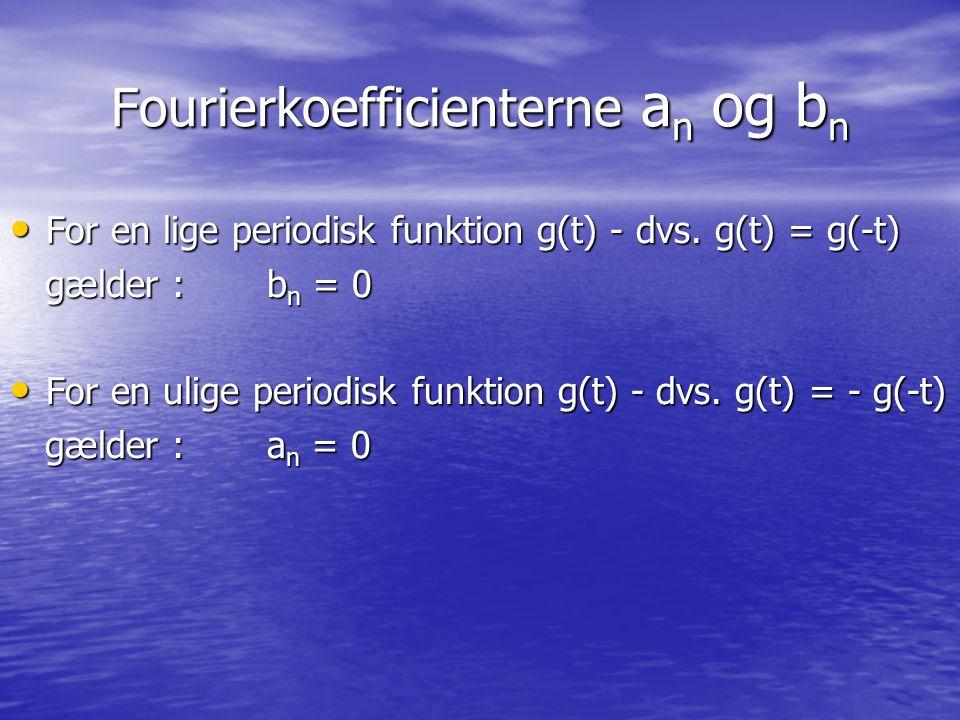 Eksempel 1 Vi ønsker at bestemme Fourierrækken for nedenstående funktion (periode 2T=6) : Vi ønsker at bestemme Fourierrækken for nedenstående funktion (periode 2T=6) : 1234 g(t) -3-2 t 5