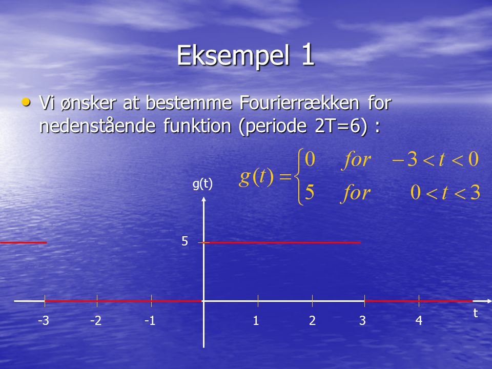 Eksempel 1 Vi ønsker at bestemme Fourierrækken for nedenstående funktion (periode 2T=6) : Vi ønsker at bestemme Fourierrækken for nedenstående funktio