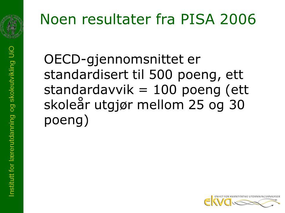 Institutt for lærerutdanning og skoleutvikling UiO Noen resultater fra PISA 2006 OECD-gjennomsnittet er standardisert til 500 poeng, ett standardavvik