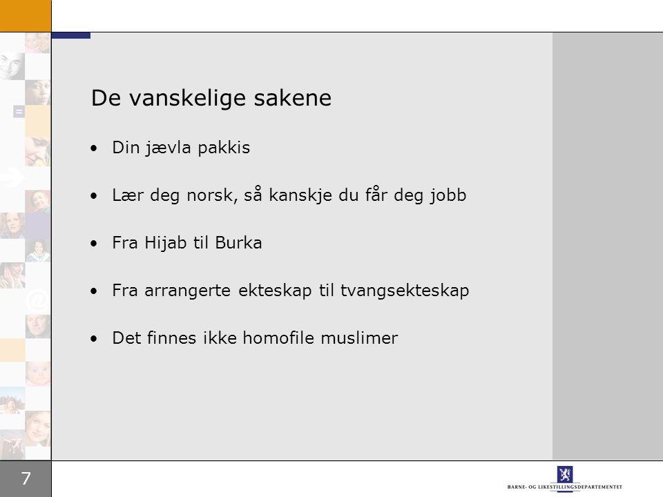 7 De vanskelige sakene Din jævla pakkis Lær deg norsk, så kanskje du får deg jobb Fra Hijab til Burka Fra arrangerte ekteskap til tvangsekteskap Det finnes ikke homofile muslimer