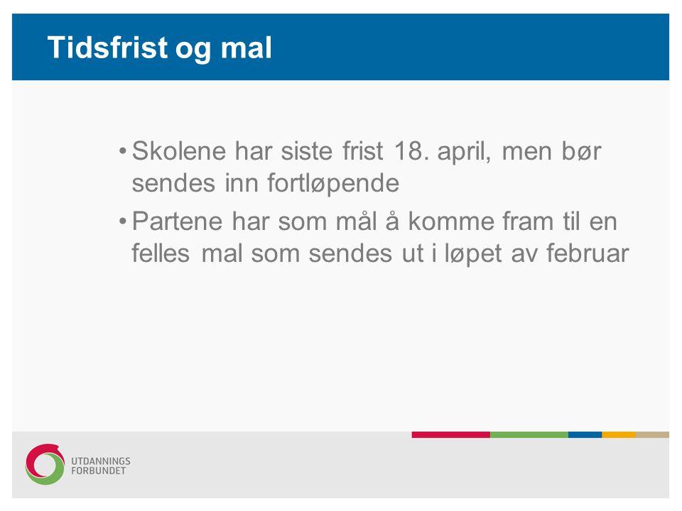 Tidsfrist og mal Skolene har siste frist 18. april, men bør sendes inn fortløpende Partene har som mål å komme fram til en felles mal som sendes ut i
