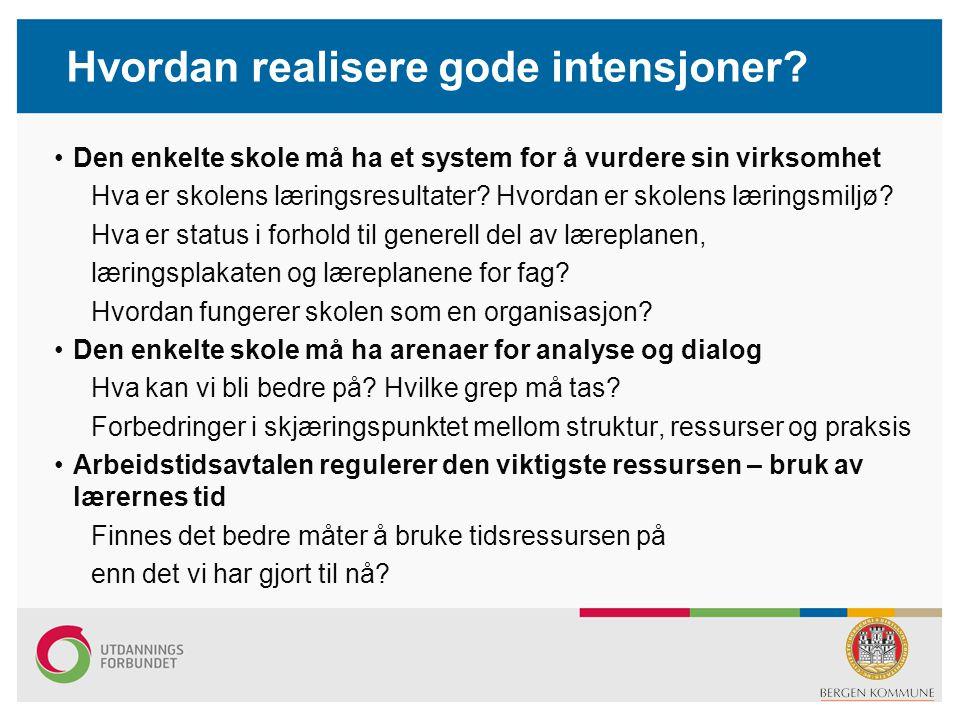 Hvordan realisere gode intensjoner? Den enkelte skole må ha et system for å vurdere sin virksomhet Hva er skolens læringsresultater? Hvordan er skolen
