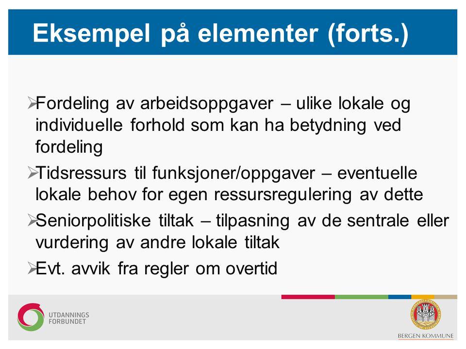 Eksempel på elementer (forts.)  Fordeling av arbeidsoppgaver – ulike lokale og individuelle forhold som kan ha betydning ved fordeling  Tidsressurs