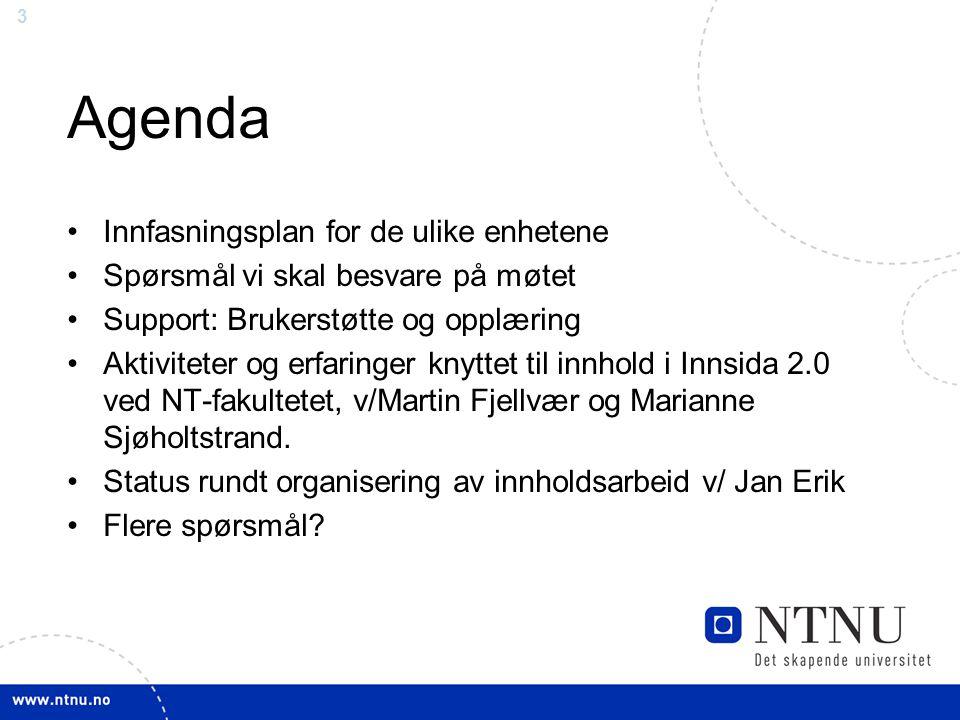 3 Agenda Innfasningsplan for de ulike enhetene Spørsmål vi skal besvare på møtet Support: Brukerstøtte og opplæring Aktiviteter og erfaringer knyttet til innhold i Innsida 2.0 ved NT-fakultetet, v/Martin Fjellvær og Marianne Sjøholtstrand.