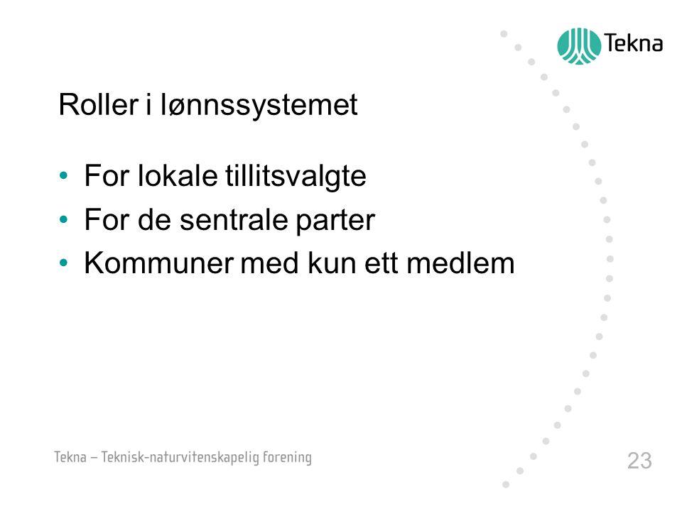 23 Roller i lønnssystemet For lokale tillitsvalgte For de sentrale parter Kommuner med kun ett medlem