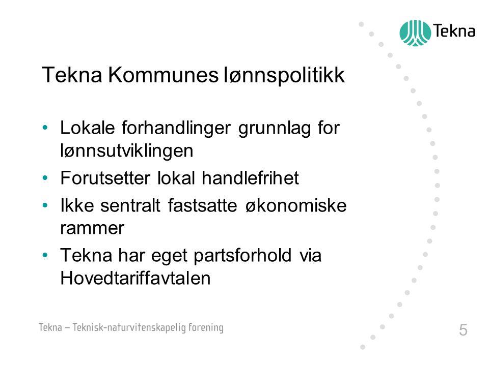 5 Tekna Kommunes lønnspolitikk Lokale forhandlinger grunnlag for lønnsutviklingen Forutsetter lokal handlefrihet Ikke sentralt fastsatte økonomiske ra