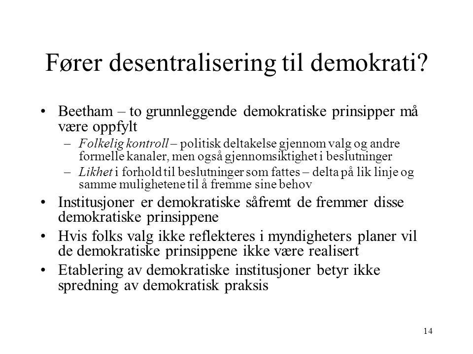 14 Fører desentralisering til demokrati? Beetham – to grunnleggende demokratiske prinsipper må være oppfylt –Folkelig kontroll – politisk deltakelse g