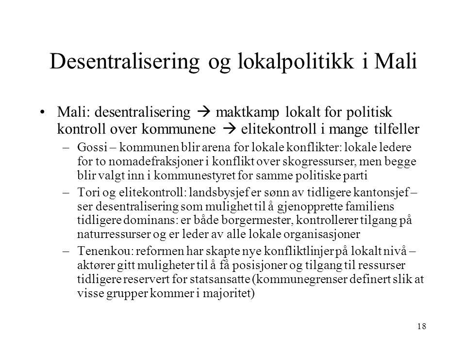 18 Desentralisering og lokalpolitikk i Mali Mali: desentralisering  maktkamp lokalt for politisk kontroll over kommunene  elitekontroll i mange tilf