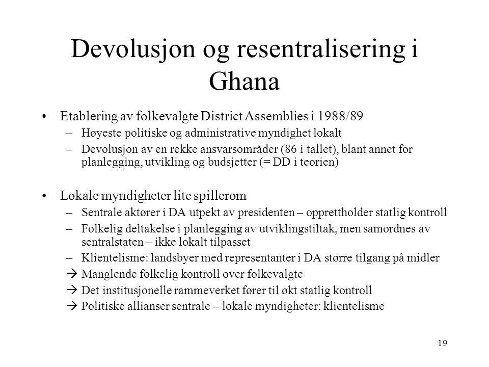 19 Devolusjon og resentralisering i Ghana Etablering av folkevalgte District Assemblies i 1988/89 –Høyeste politiske og administrative myndighet lokal