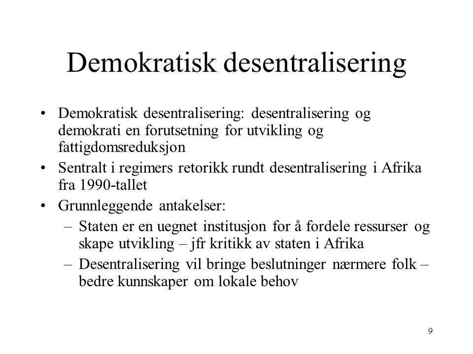 9 Demokratisk desentralisering Demokratisk desentralisering: desentralisering og demokrati en forutsetning for utvikling og fattigdomsreduksjon Sentra