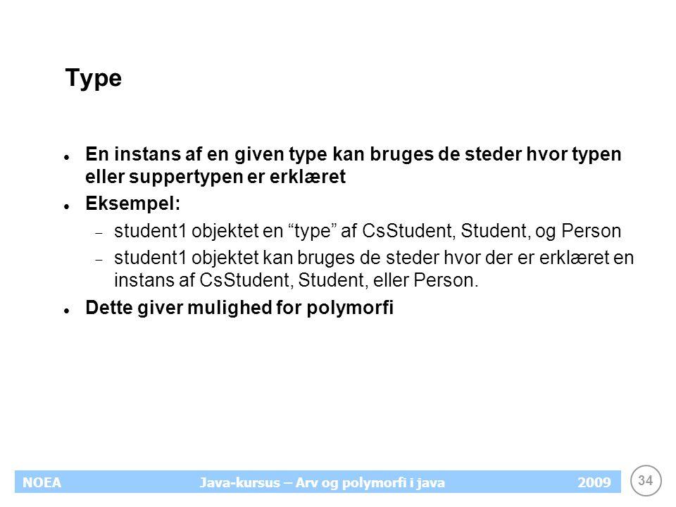 34 NOEA2009Java-kursus – Arv og polymorfi i java Type En instans af en given type kan bruges de steder hvor typen eller suppertypen er erklæret Eksemp