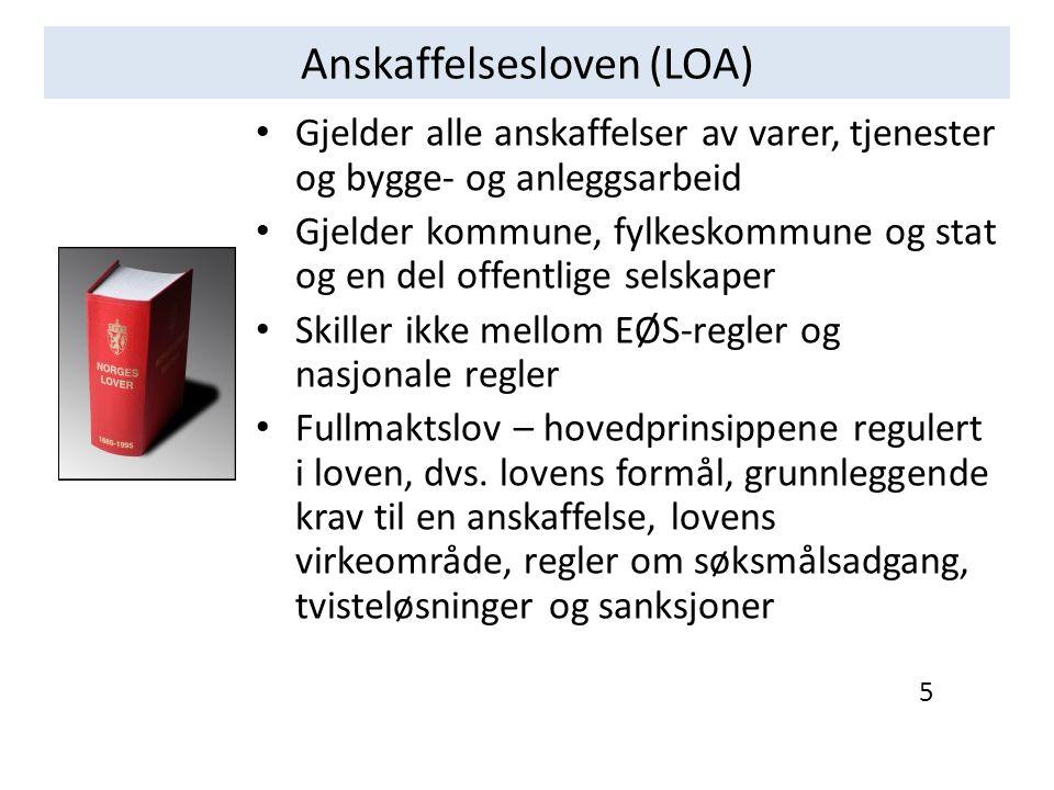 Anskaffelsesforskriften (FOA) Snevrere virkeområde enn loven, en del typer kontrakter er unntatt, se FOA § 1-3 Skiller mellom anskaffelser regulert av internasjonale regler og anskaffelser regulert av nasjonale regler Oppdeling - del I generelle regler - del II - anskaffelser under EØS-terskelverdiene og uprioriterte tjenester - del III anskaffelser over EØS-terskelverdiene/prioriterte tjenester - del IV spesielle prosedyrer og del V ikraftsetting - del II og del III bygget opp likt, etter gangen i en anskaffelsesprosess Anskaffelsesforskriften vil bli endret i løpet av de nærmeste årene, dels pga.