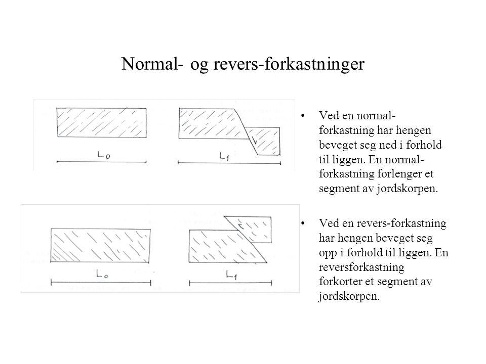 Normal- og revers-forkastninger Ved en normal- forkastning har hengen beveget seg ned i forhold til liggen. En normal- forkastning forlenger et segmen