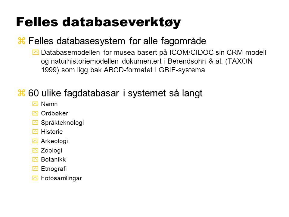 Felles databaseverktøy zFelles databasesystem for alle fagområde yDatabasemodellen for musea basert på ICOM/CIDOC sin CRM-modell og naturhistoriemodel