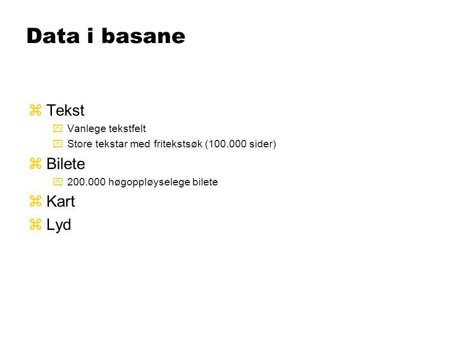 Data i basane zTekst yVanlege tekstfelt yStore tekstar med fritekstsøk (100.000 sider) zBilete y200.000 høgoppløyselege bilete zKart zLyd