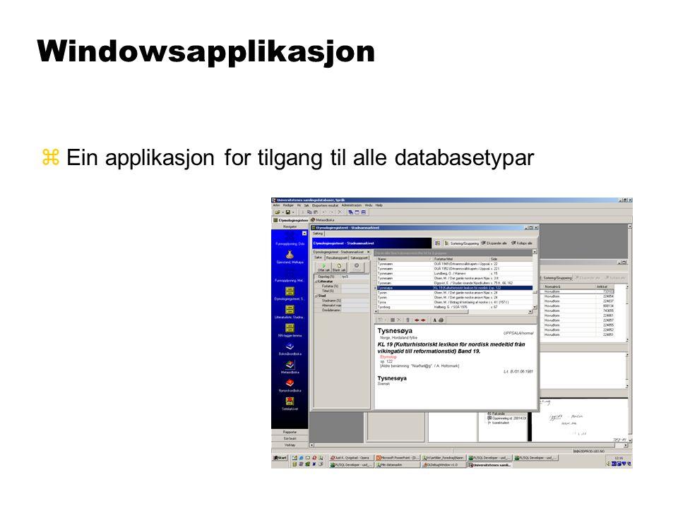 Windowsapplikasjon zEin applikasjon for tilgang til alle databasetypar
