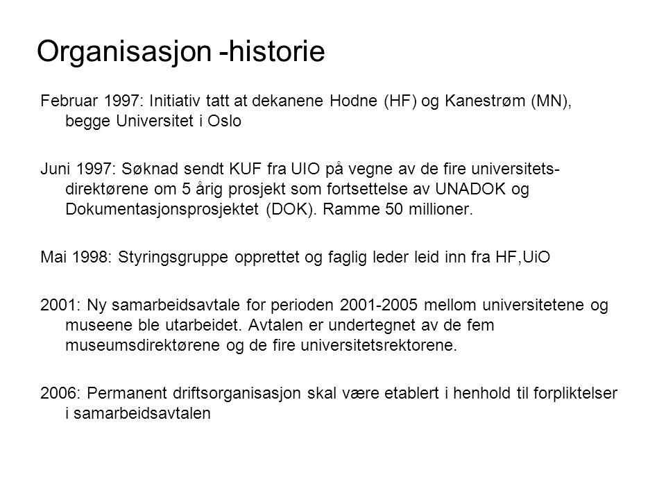 Organisasjon -historie Februar 1997: Initiativ tatt at dekanene Hodne (HF) og Kanestrøm (MN), begge Universitet i Oslo Juni 1997: Søknad sendt KUF fra