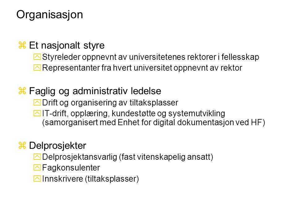 Organisasjon zEt nasjonalt styre yStyreleder oppnevnt av universitetenes rektorer i fellesskap yRepresentanter fra hvert universitet oppnevnt av rekto