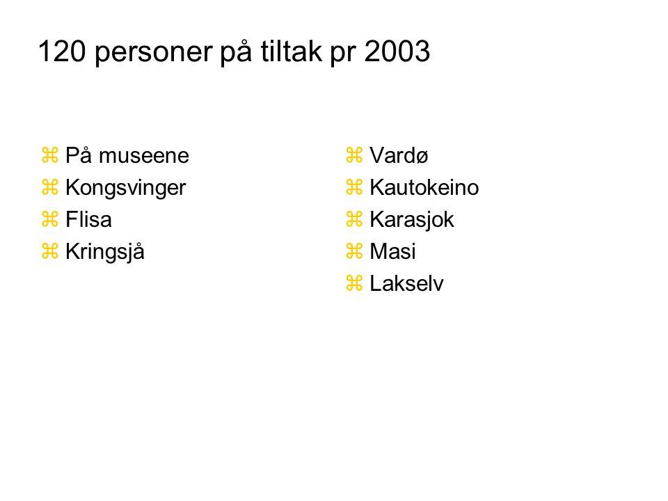120 personer på tiltak pr 2003 zPå museene zKongsvinger zFlisa zKringsjå zVardø zKautokeino zKarasjok zMasi zLakselv