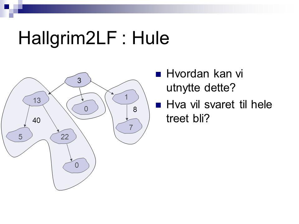 Hallgrim2LF : Hule Hvordan kan vi utnytte dette. Hva vil svaret til hele treet bli.