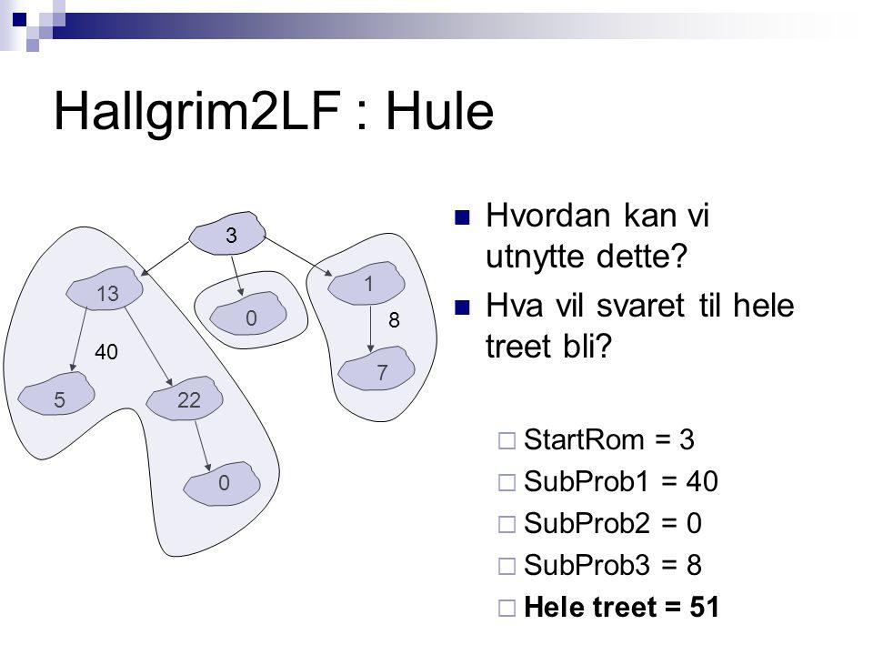 Hallgrim2LF : Hule Hvordan kan vi utnytte dette? Hva vil svaret til hele treet bli?  StartRom = 3  SubProb1 = 40  SubProb2 = 0  SubProb3 = 8  Hel