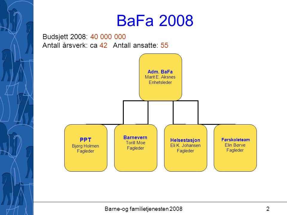 Barne-og familietjenesten 20082 BaFa 2008 Adm. BaFa Marit E.