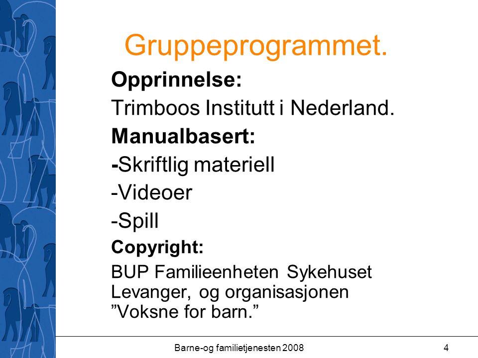 Barne-og familietjenesten 20084 Gruppeprogrammet. Opprinnelse: Trimboos Institutt i Nederland.