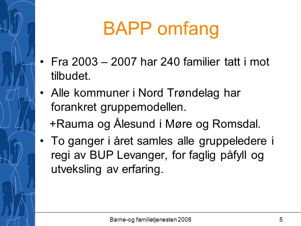 Barne-og familietjenesten 20085 BAPP omfang Fra 2003 – 2007 har 240 familier tatt i mot tilbudet.