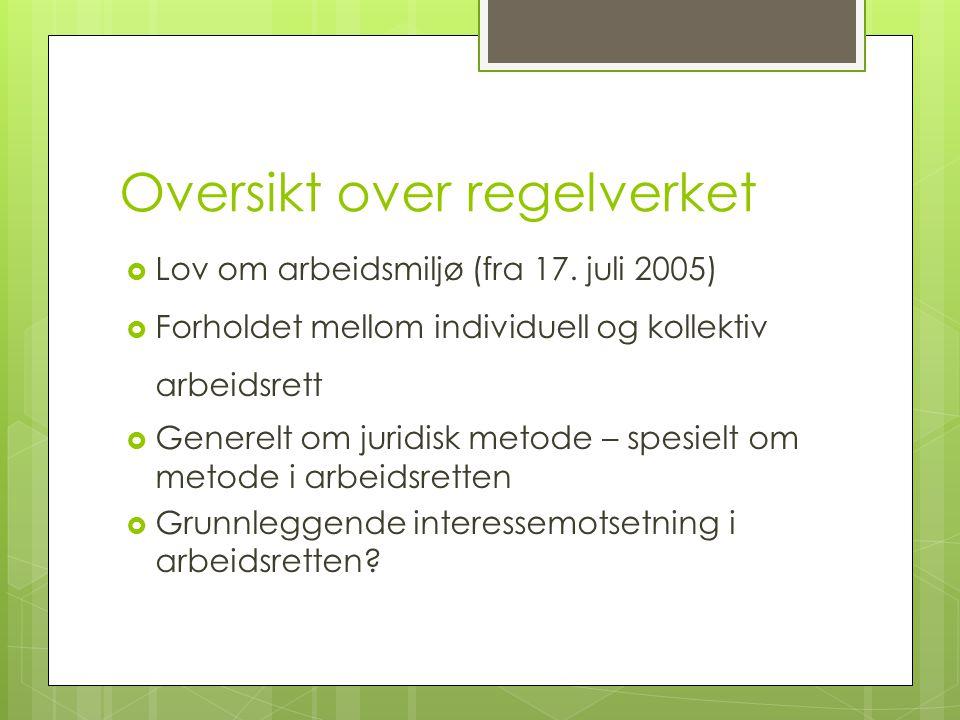 Oversikt over regelverket  Lov om arbeidsmiljø (fra 17.