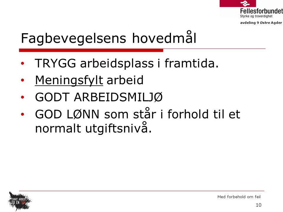 avdeling 9 Østre Agder Med forbehold om feil Fagbevegelsens hovedmål TRYGG arbeidsplass i framtida.