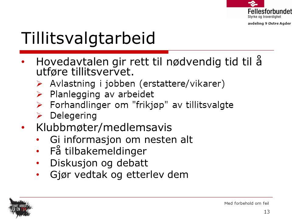 avdeling 9 Østre Agder Med forbehold om feil Tillitsvalgtarbeid Hovedavtalen gir rett til nødvendig tid til å utføre tillitsvervet.