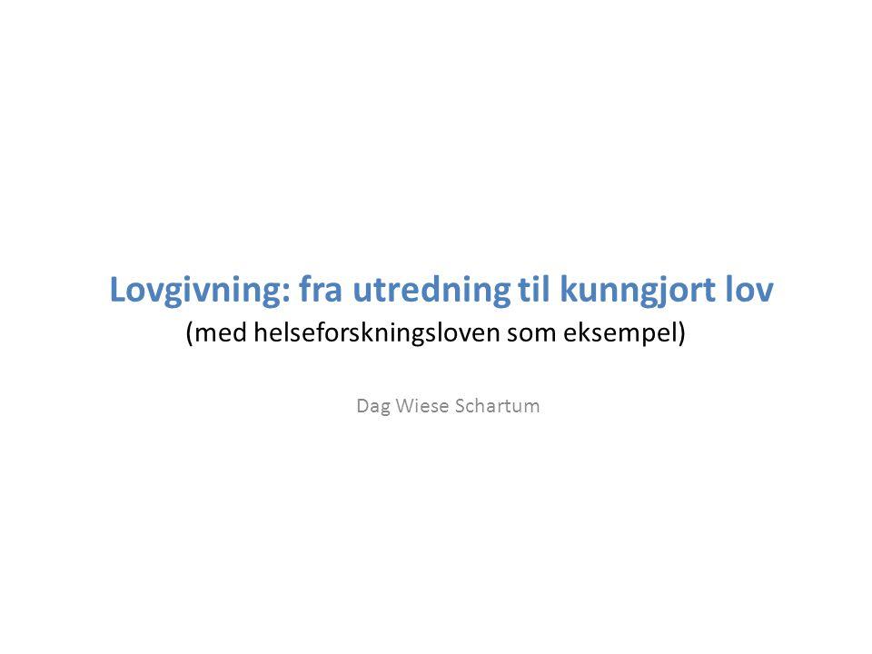 Lovgivning: fra utredning til kunngjort lov (med helseforskningsloven som eksempel) Dag Wiese Schartum