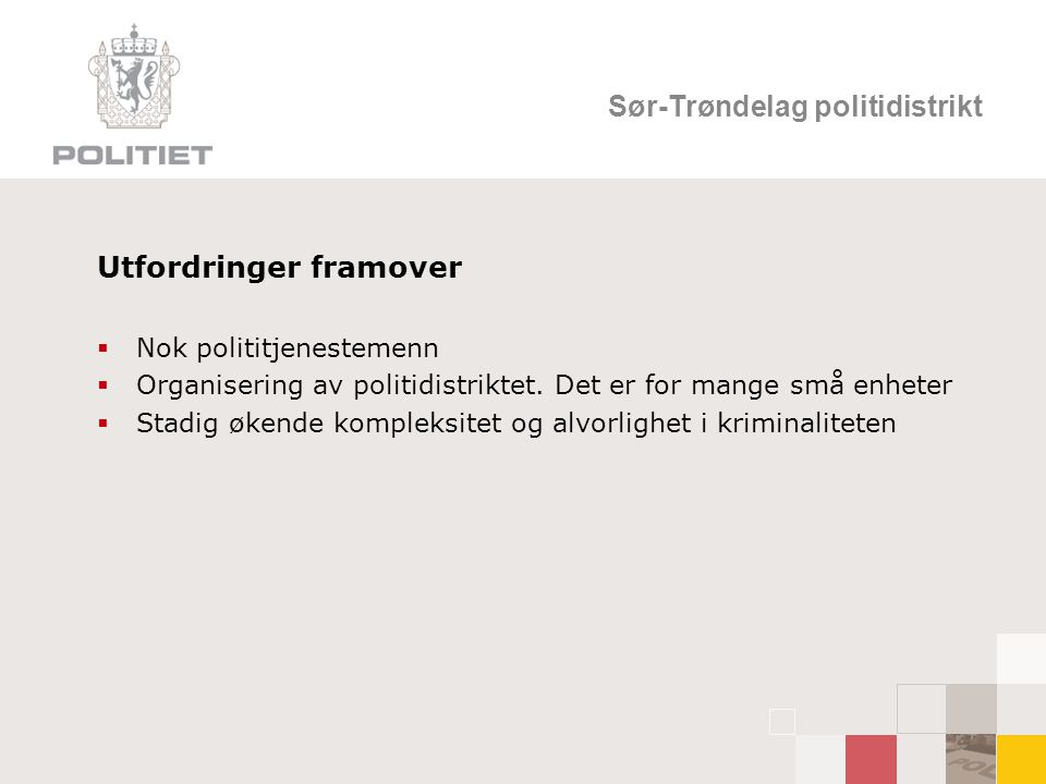 Sør-Trøndelag politidistrikt Utfordringer framover  Nok polititjenestemenn  Organisering av politidistriktet.