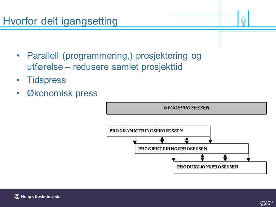 Torer F. Berg Byggforsk Hvorfor delt igangsetting Parallell (programmering,) prosjektering og utførelse – redusere samlet prosjekttid Tidspress Økonom