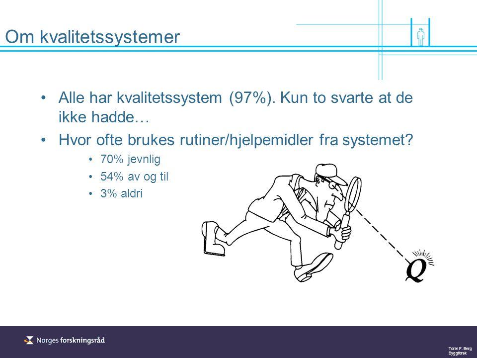 Torer F. Berg Byggforsk Om kvalitetssystemer Alle har kvalitetssystem (97%). Kun to svarte at de ikke hadde… Hvor ofte brukes rutiner/hjelpemidler fra