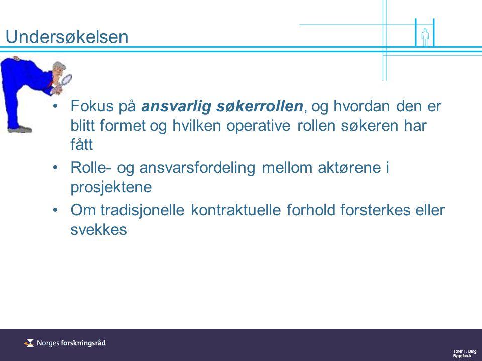 Torer F. Berg Byggforsk Undersøkelsen Fokus på ansvarlig søkerrollen, og hvordan den er blitt formet og hvilken operative rollen søkeren har fått Roll