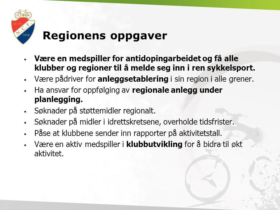 Regionens oppgaver Være en medspiller for antidopingarbeidet og få alle klubber og regioner til å melde seg inn i ren sykkelsport. Være pådriver for a