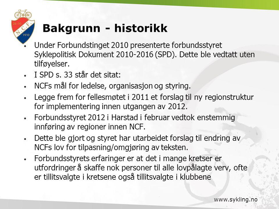 Bakgrunn - historikk Under Forbundstinget 2010 presenterte forbundsstyret Syklepolitisk Dokument 2010-2016 (SPD). Dette ble vedtatt uten tilføyelser.