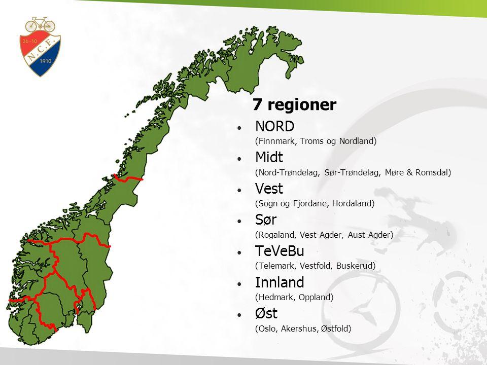 7 regioner NORD (Finnmark, Troms og Nordland) Midt (Nord-Trøndelag, Sør-Trøndelag, Møre & Romsdal) Vest (Sogn og Fjordane, Hordaland) Sør (Rogaland, V