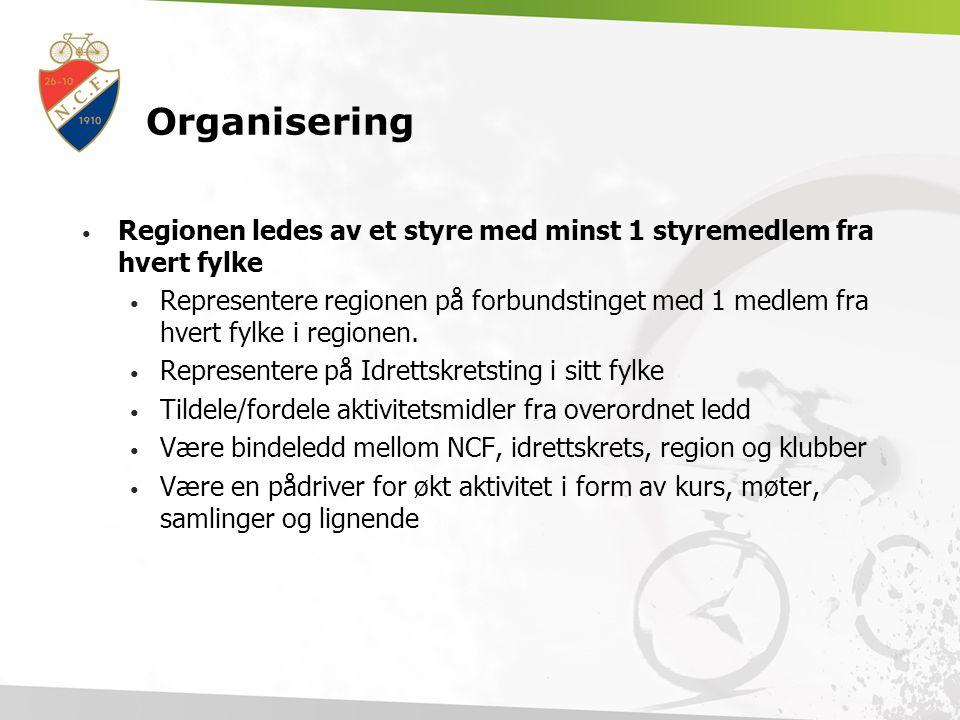Organisering Regionen ledes av et styre med minst 1 styremedlem fra hvert fylke Representere regionen på forbundstinget med 1 medlem fra hvert fylke i