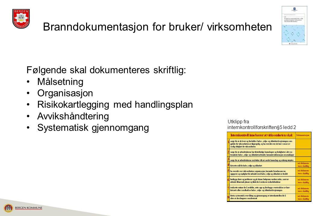 Branndokumentasjon for bruker/ virksomheten Følgende skal dokumenteres skriftlig: Målsetning Organisasjon Risikokartlegging med handlingsplan Avvikshå