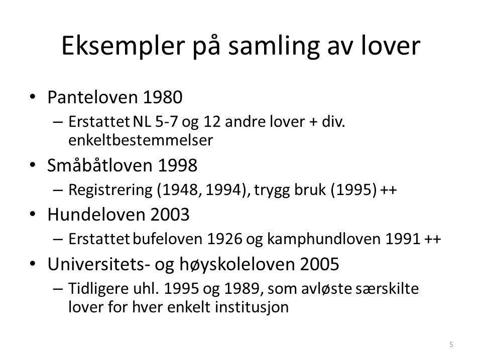 Eksempler på samling av lover Panteloven 1980 – Erstattet NL 5-7 og 12 andre lover + div. enkeltbestemmelser Småbåtloven 1998 – Registrering (1948, 19