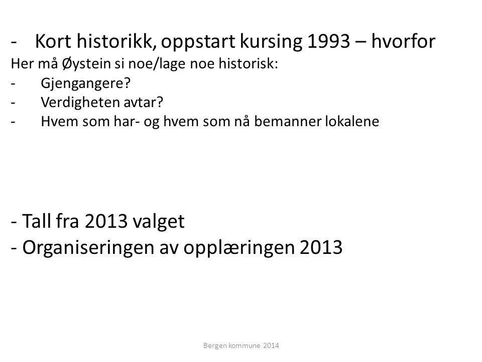 -Kort historikk, oppstart kursing 1993 – hvorfor Her må Øystein si noe/lage noe historisk: -Gjengangere.