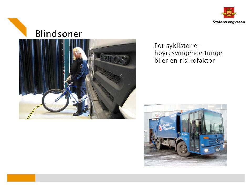 Blindsoner For syklister er høyresvingende tunge biler en risikofaktor